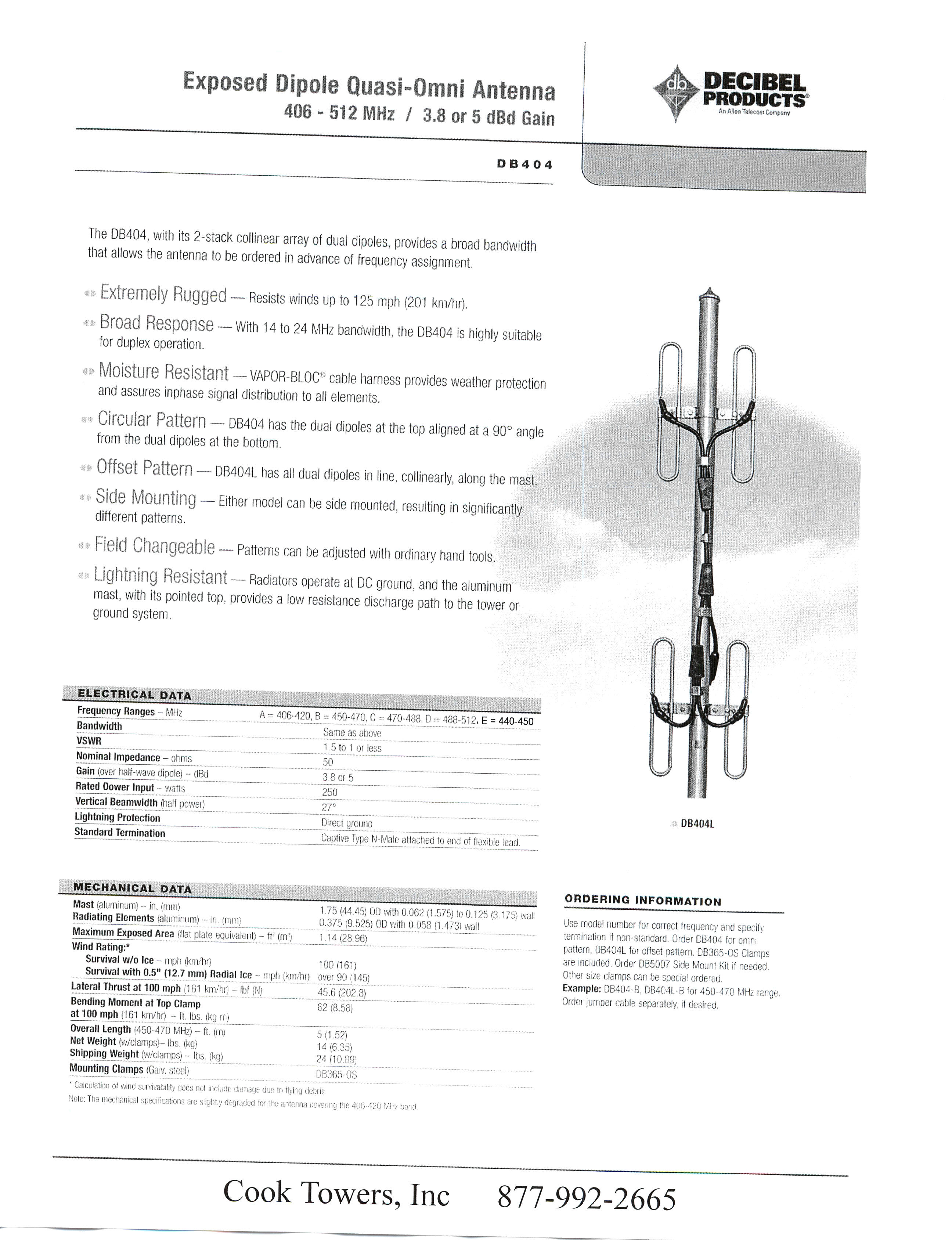 db 404 cook 1 antenna systems information Db222 Antenna at bayanpartner.co
