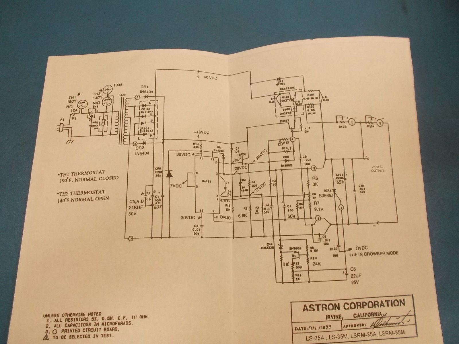 Astron Power Supply Index Page Linear Wiring Diagram 35a Intermittent 25a Continuous 197 Kb Dated 07 1993 Found On The Web Has Some Voltage Measurements It