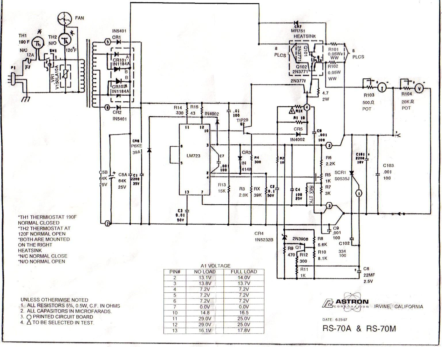 Astron Power Supply Index Page Schematic Rs 70a