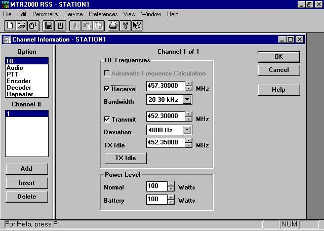 Programming the Transmitter Idle Frequency on the MTR2000