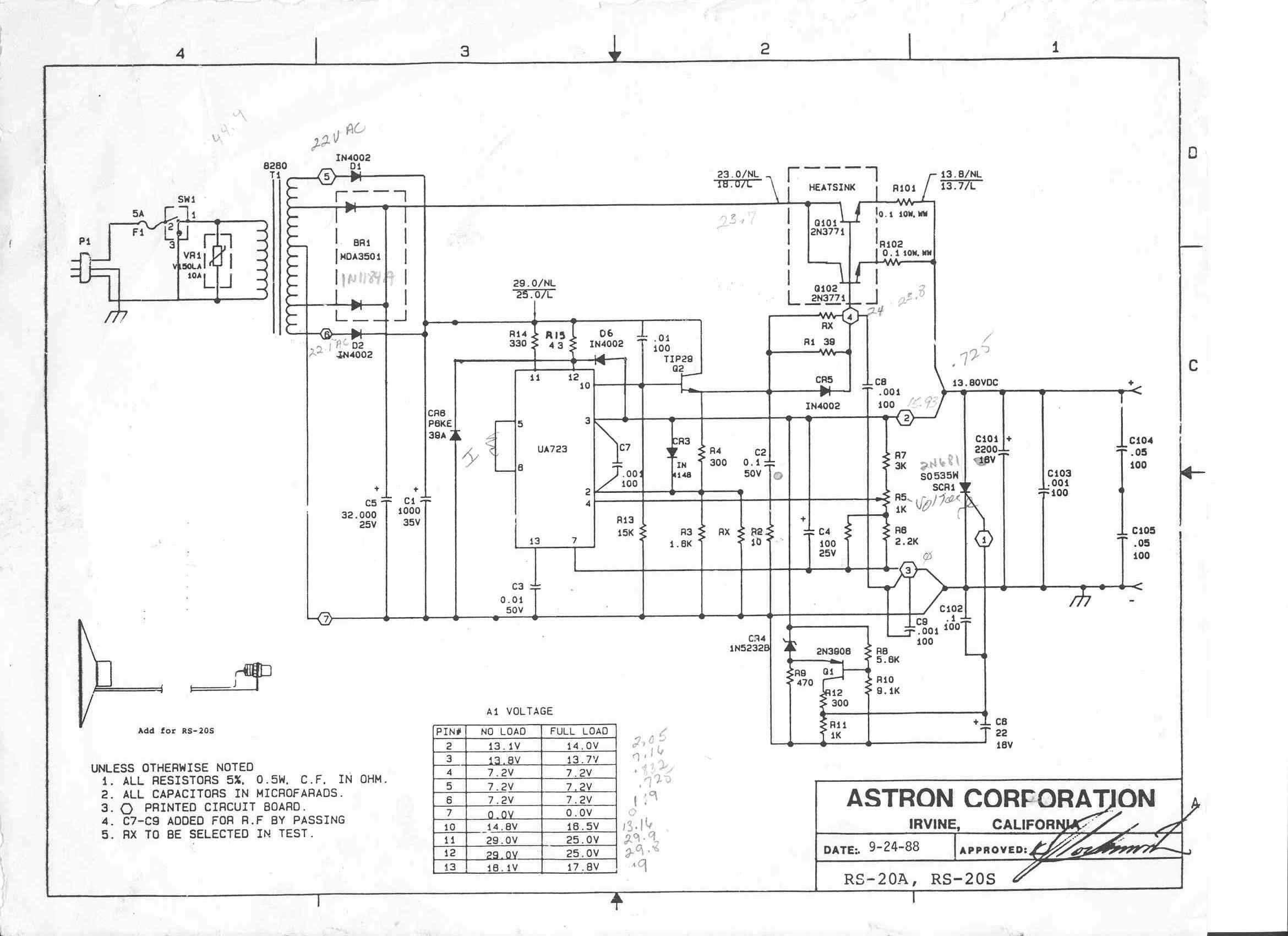 Astron Power Supply Index Page Circuit Diagram Of Rs 20a